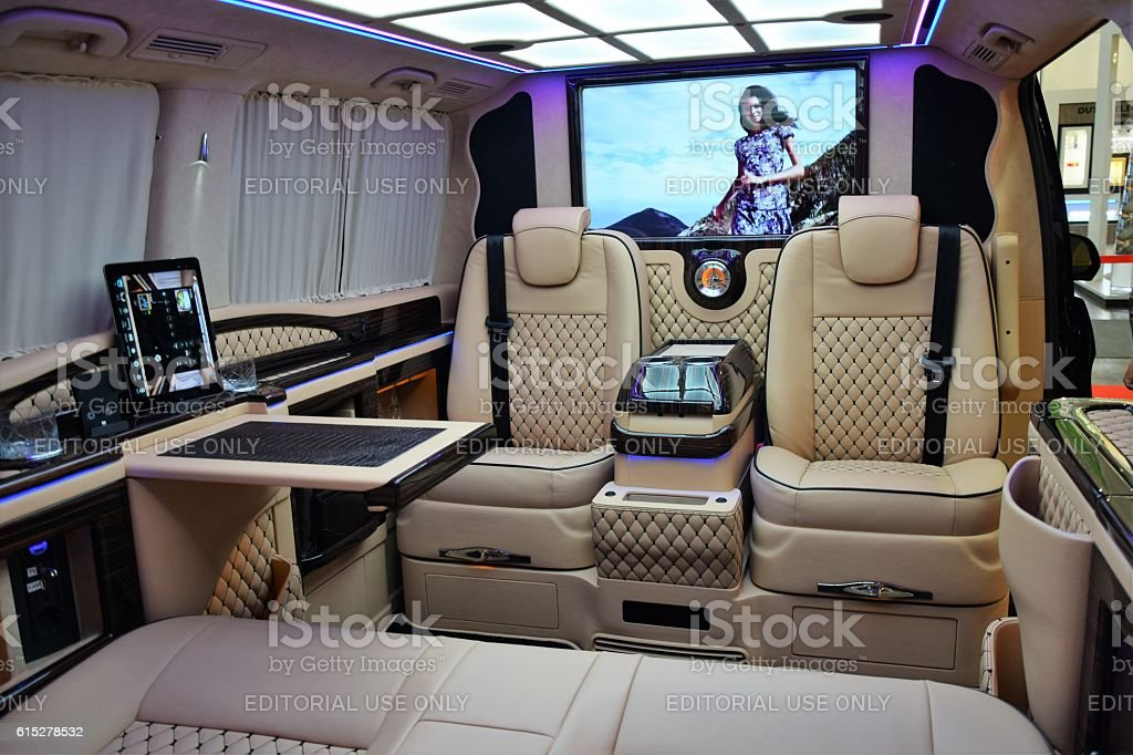 Luxury interior in a modern minivan stock photo