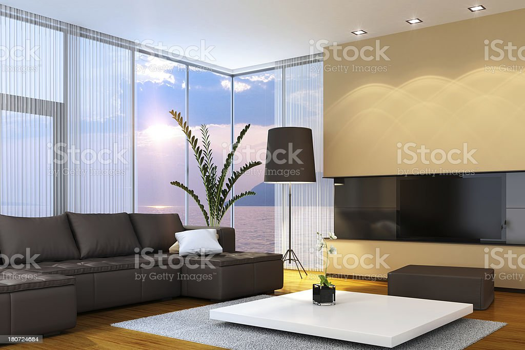 Luxury Interior with TV royalty-free stock photo