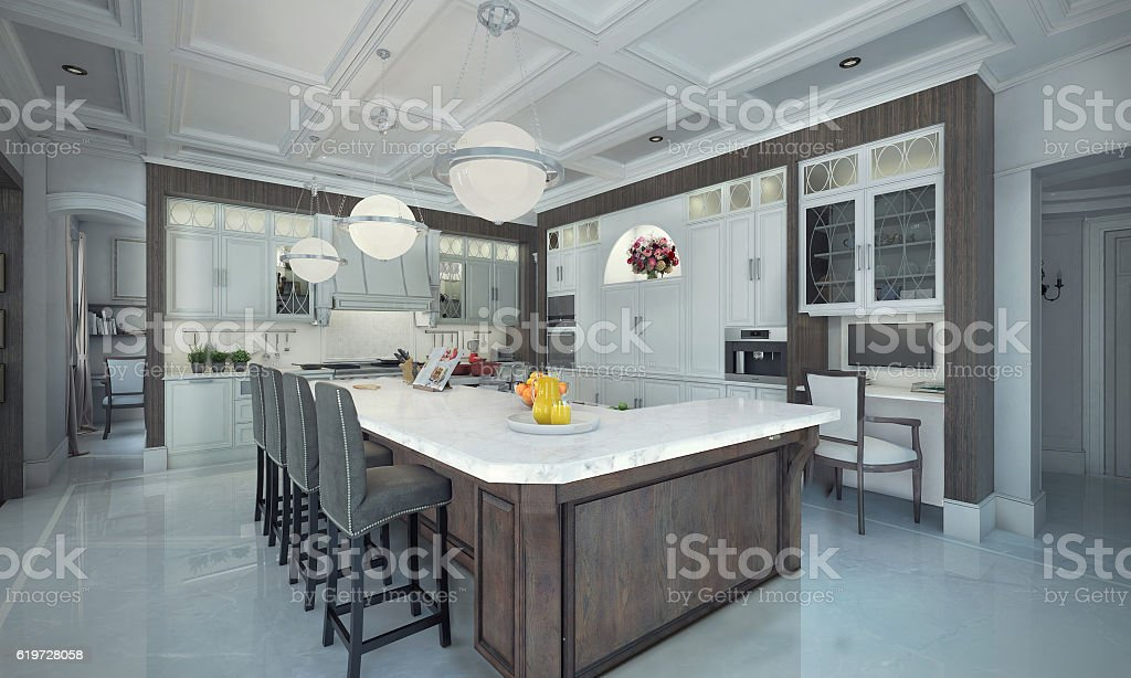 Luxury kitchen interior. 3d illustration stock photo