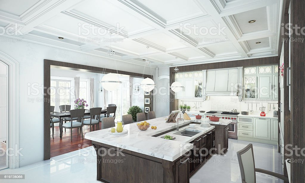Luxury kitchen interior. 3d illustration stock photo