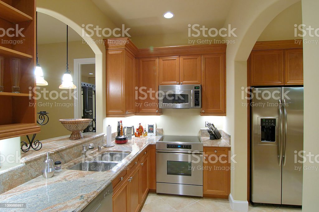Luxury kitchen with stainless steel appliances royalty-free stock photo