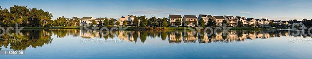 Luxury lakeside homes panorama royalty-free stock photo