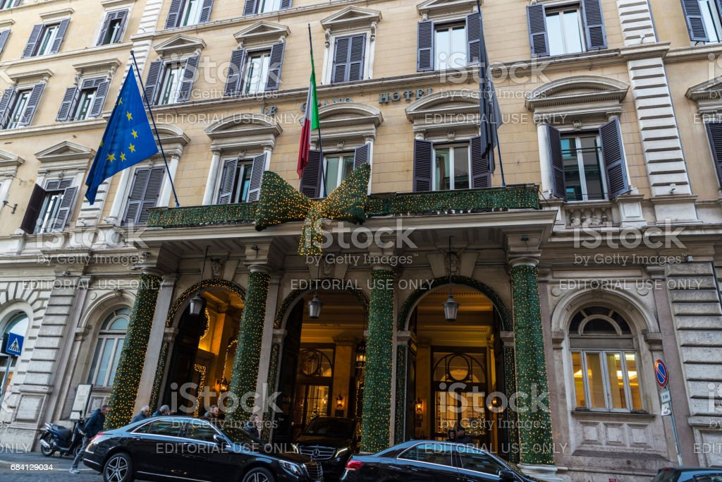Luxury Le Grand hotel in Rome, Italy. stock photo