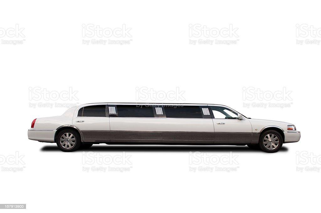 Luxury limousine side view white. stock photo