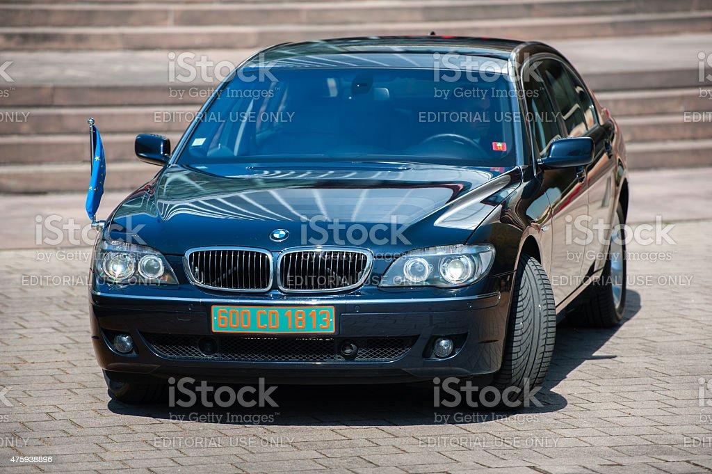 Luxury limousine with EU Flag stock photo