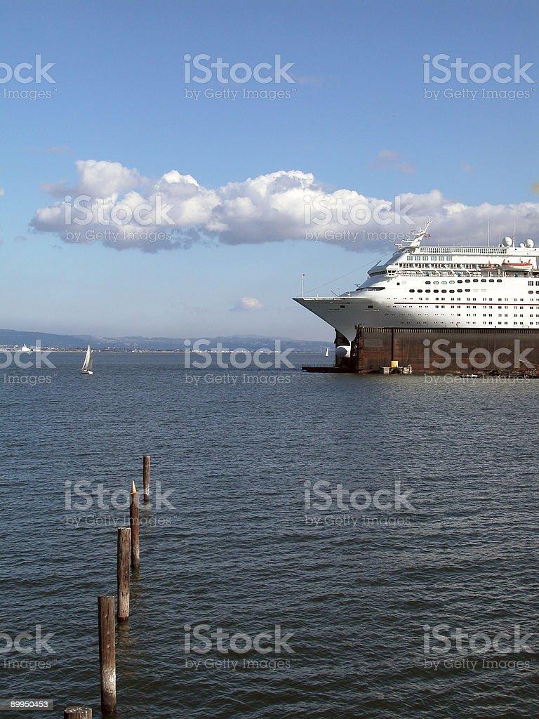 Luxury liner in dock stock photo