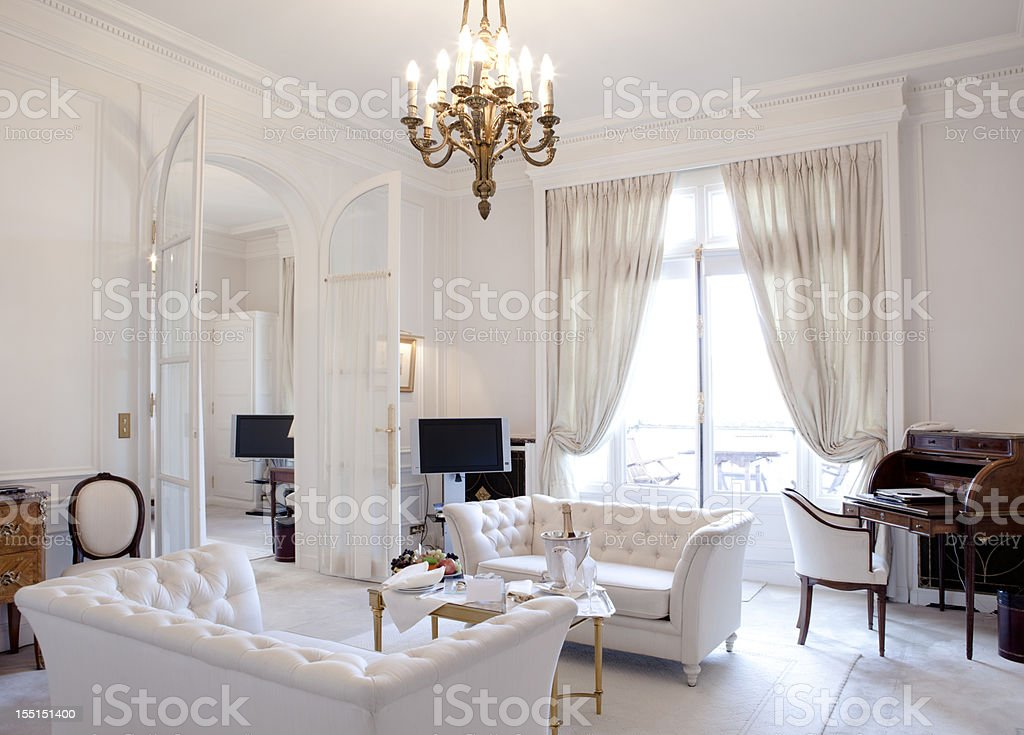 Luxury Living Room in Paris stock photo