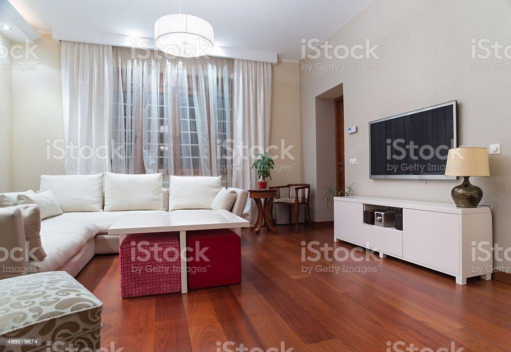Luxury living room interior - evening shot stock photo