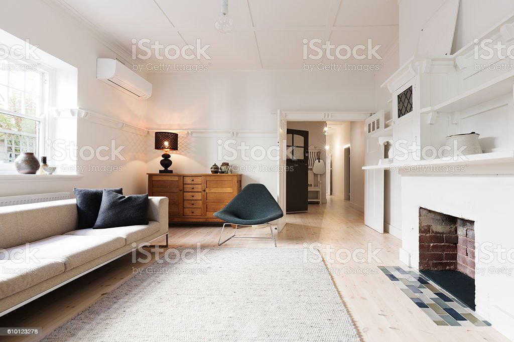 Luxury living room interior styled in contemporary furnishings stock photo