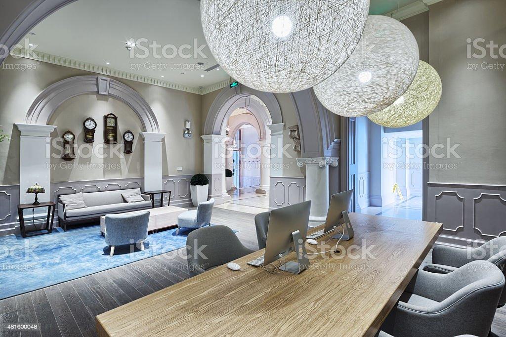 luxury lobby in modern hotel stock photo