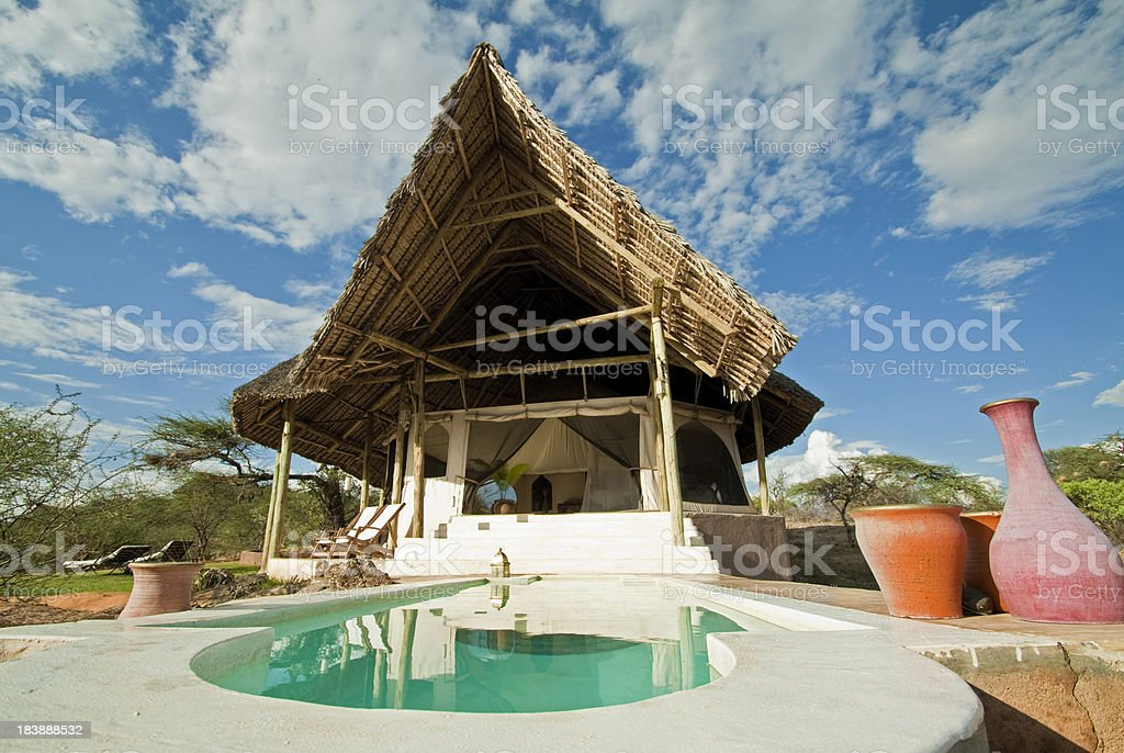 Luxury Lodge Room and Pool royalty-free stock photo