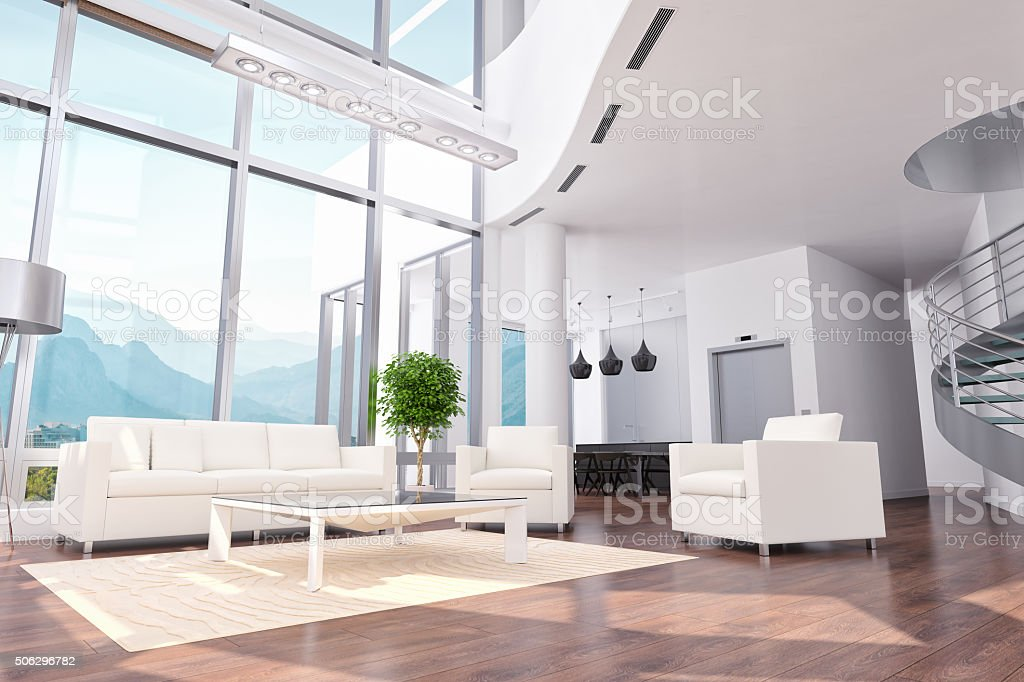 Luxury Loft Apartment / Office / Hotel Room Interior Design stock photo