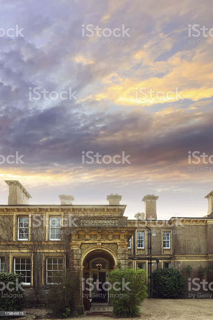 Luxury mansion in Sunset stock photo