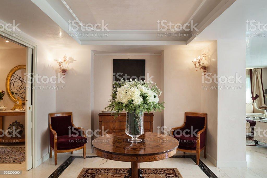luxury mansion, sitting room stock photo
