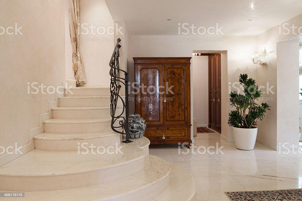 Luxury mansion, staircase stock photo