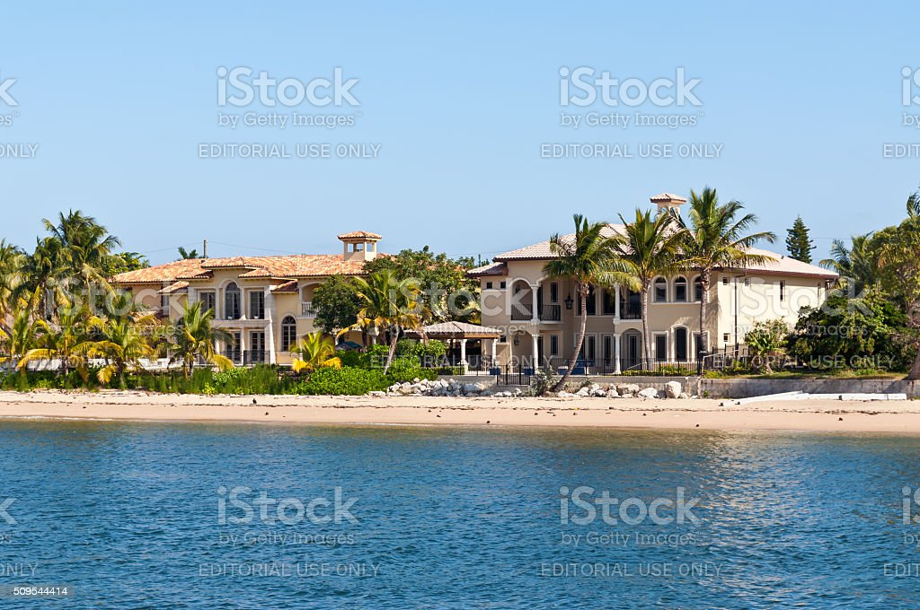 Luxury mansion with a sandy beach stock photo