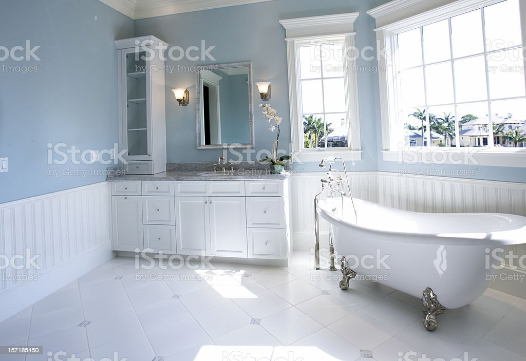Luxury Master Bathroom with Free Standing Bath Tub royalty-free stock photo