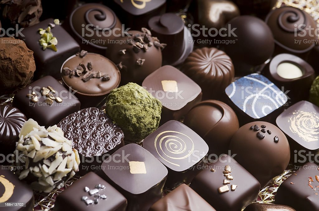 Luxury milk and dark chocolate truffles stock photo