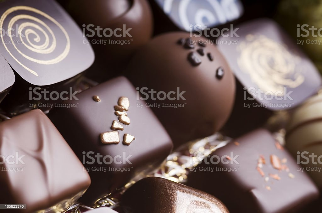 Luxury mixed chocolate truffles stock photo