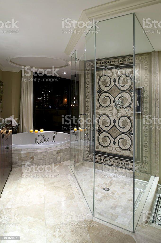 luxury modern estate mansion bathroom shower stock photo