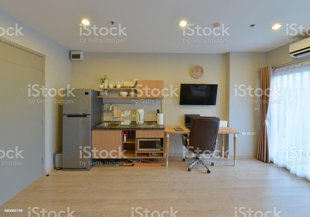 luxury modern kitchen area and decoration on condominium, interior design stock photo