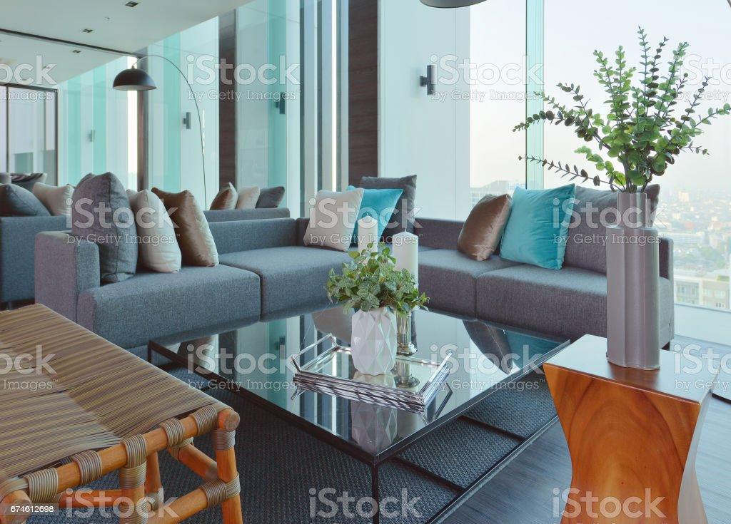 luxury modern living room interior and decoration, interior design stock photo