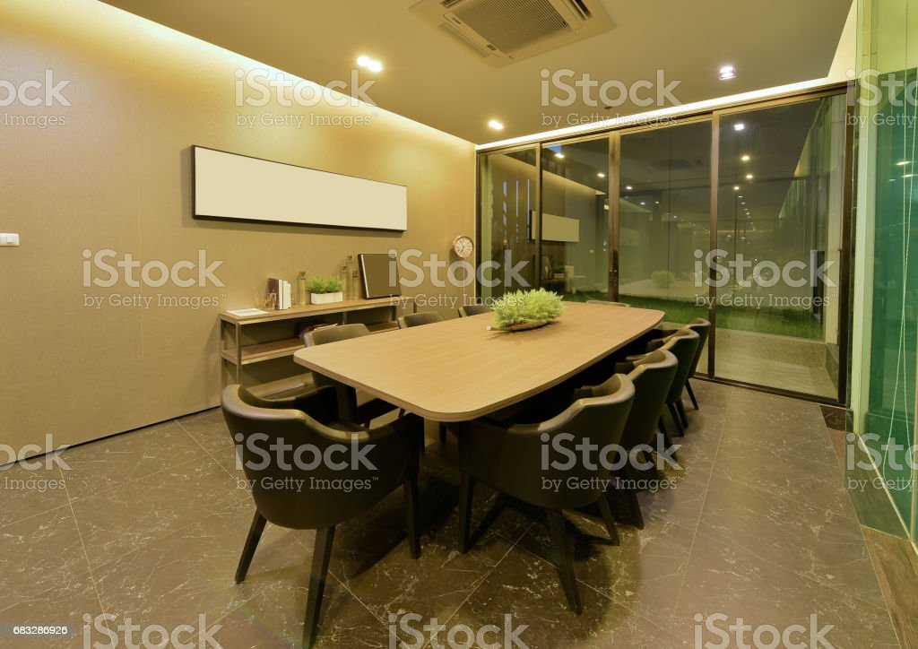 luxury modern meeting room interior and decoration at night, interior design stock photo
