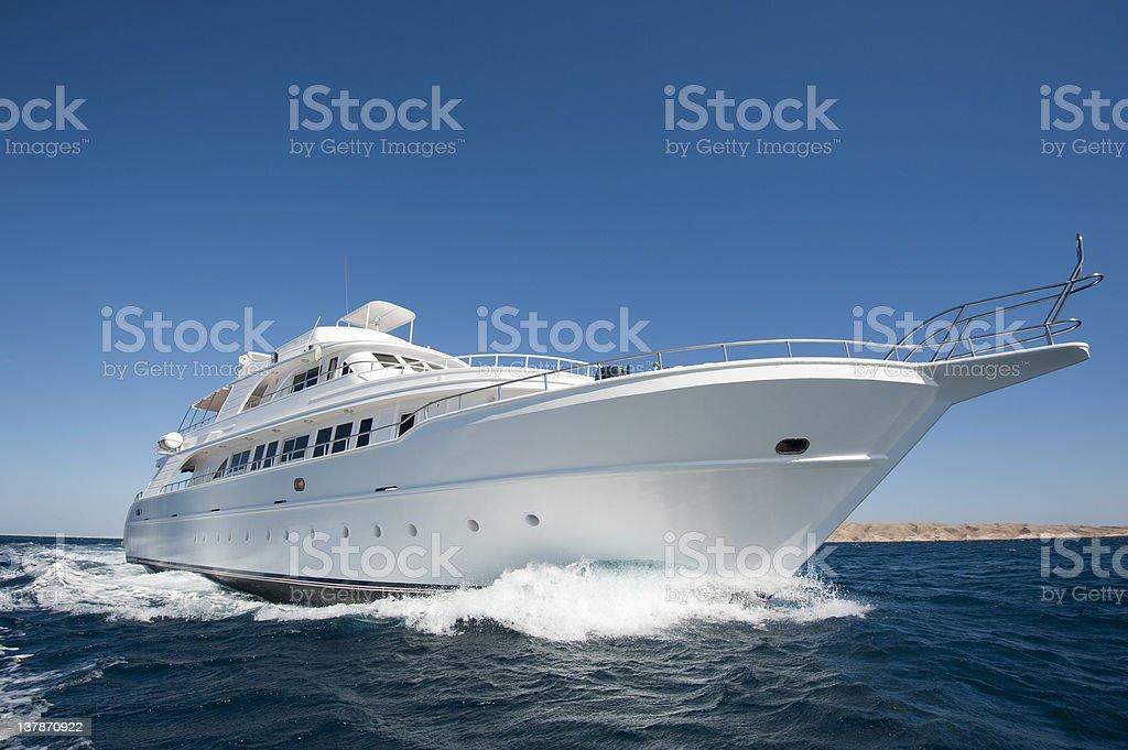 Luxury motor yacht at sea stock photo