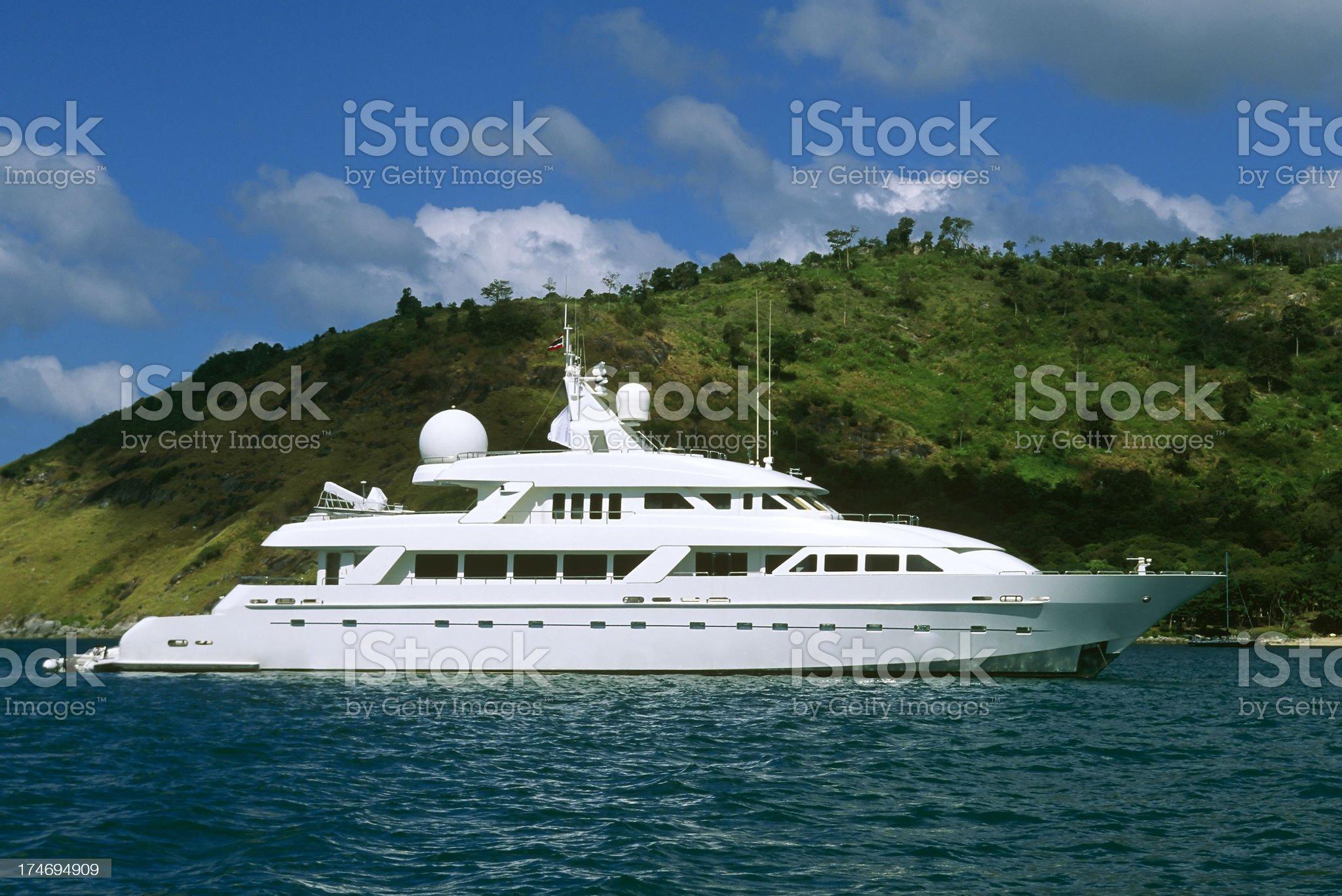 luxury motor yacht boat island wealth phuket thailand royalty-free stock photo