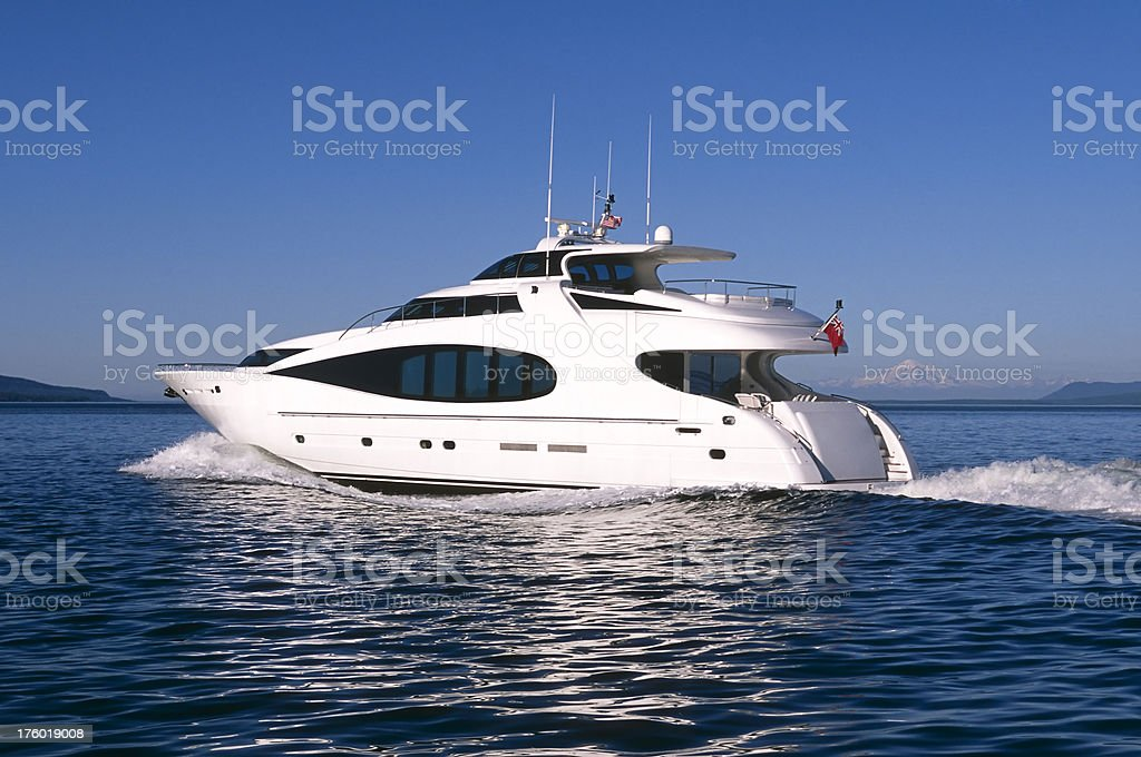 luxury motor yacht ship boat vancouver island victoria royalty-free stock photo