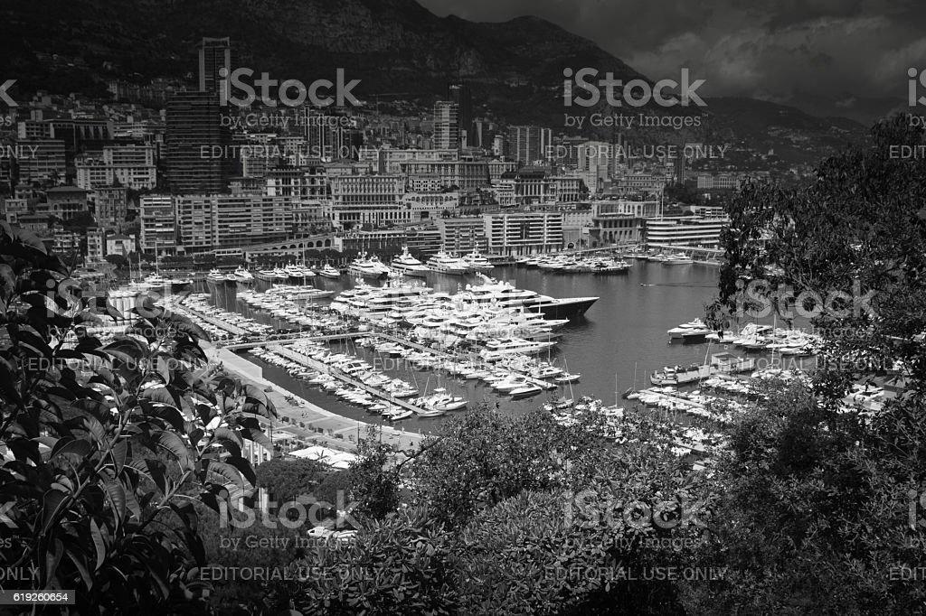 Luxury motor yachts Monaco stock photo