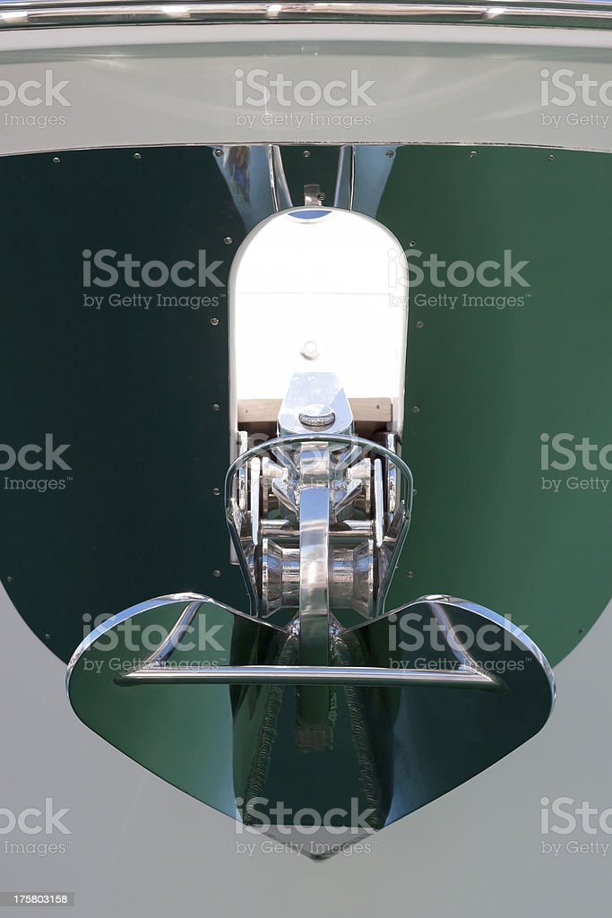 Luxury motorboat anchor, front view royalty-free stock photo