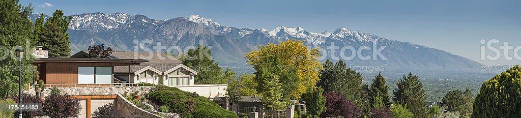 Luxury mountain view homes panorama stock photo