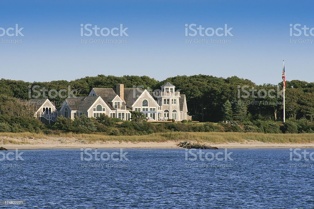 Luxury New England Home. Clear blue sky. royalty-free stock photo