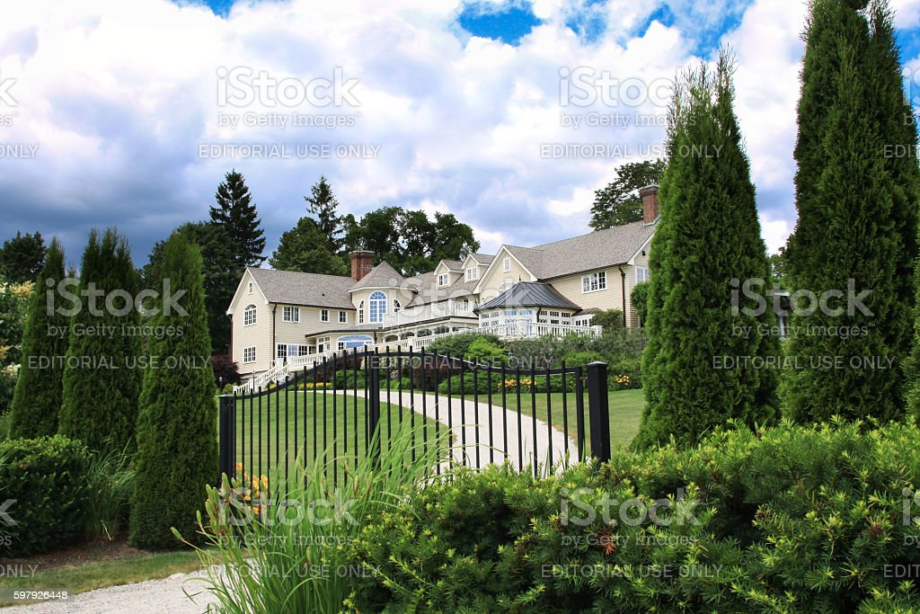 Luxury New England House Among Trees, Kennebunkport, Maine, USA. stock photo