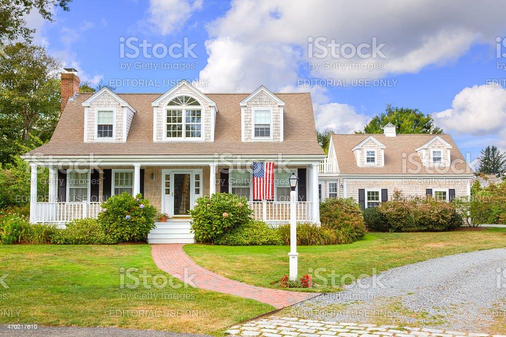 Luxury New England House, Chatham, Cape Cod, Massachusetts. Blue sky. stock photo