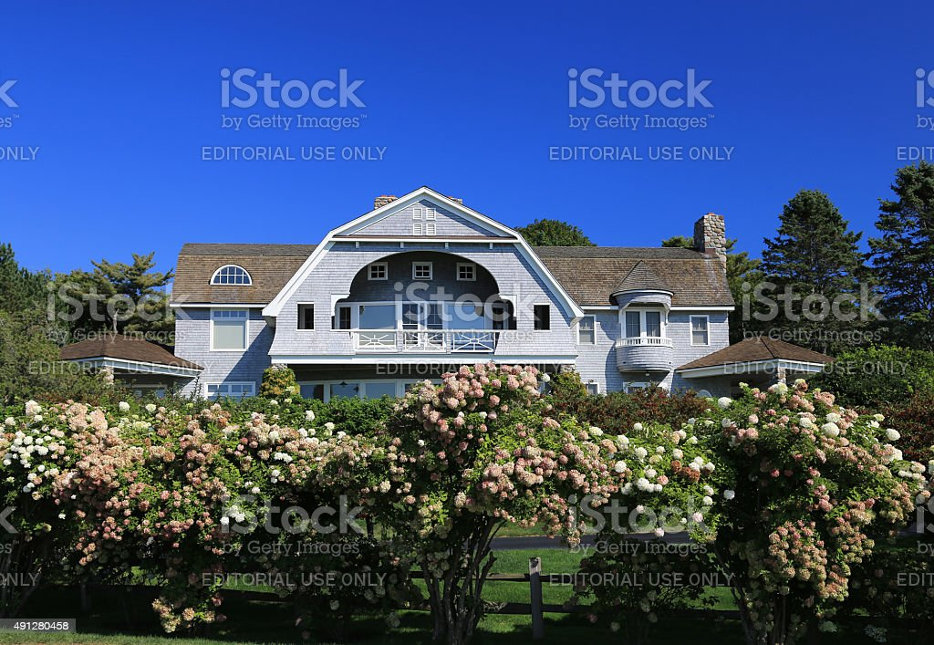 Luxury New England House, Kennebunkport, Maine, USA. stock photo