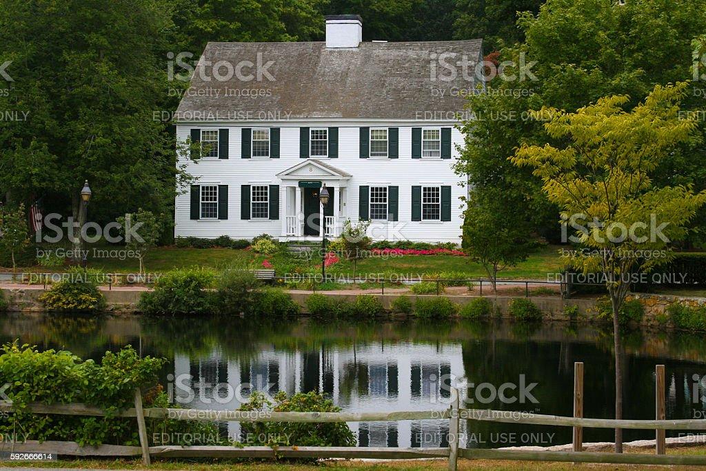 Luxury New England House on a Pond Among Trees, Massachusetts. stock photo