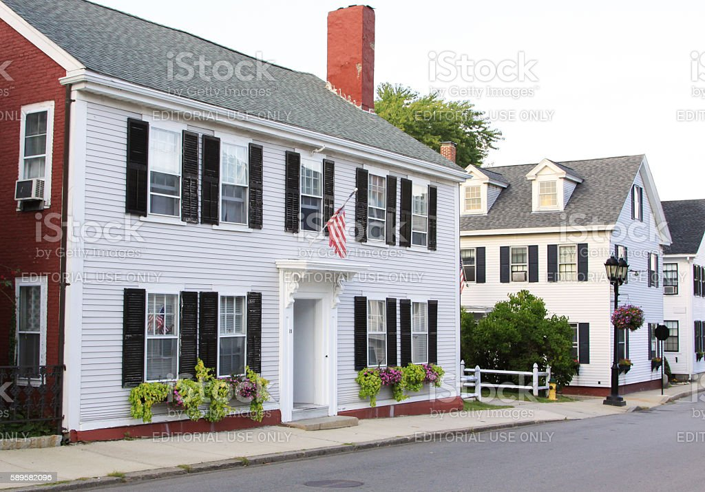 Luxury New England House on a Street in Plymouth, Massachusetts. stock photo