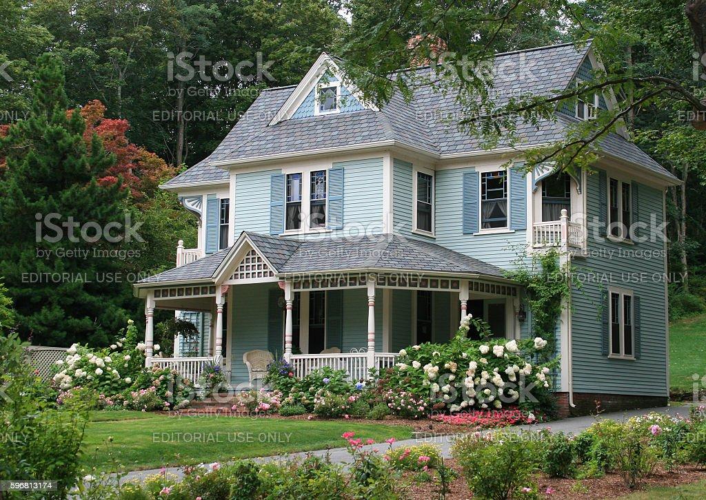 Luxury New England House with Blue Clapboard, Sandwich, Massachusetts, USA. stock photo