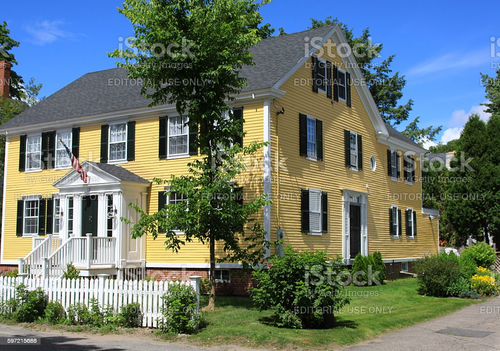 Luxury New England House with Yellow Clapboard, Kennebunkport, Maine, USA. stock photo