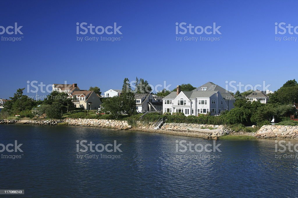 Luxury New England Waterfront Houses, Hyannis harbor. Morning Blue sky. royalty-free stock photo