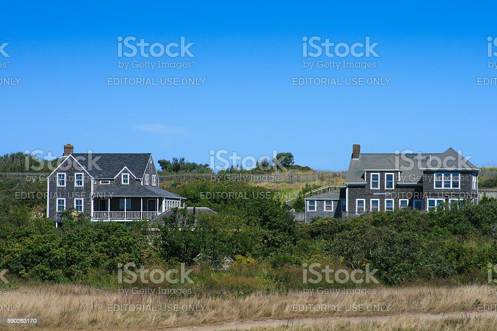 Luxury New England Waterfront Houses, Nantucket Island, Massachusetts, USA. stock photo