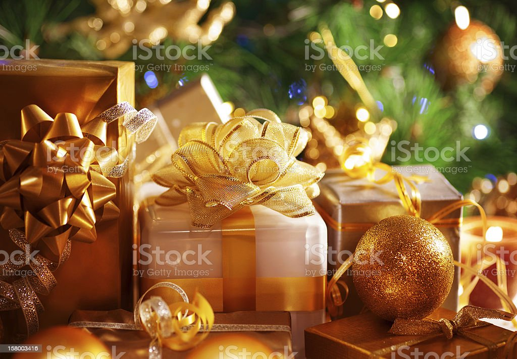 Luxury New Year gifts stock photo