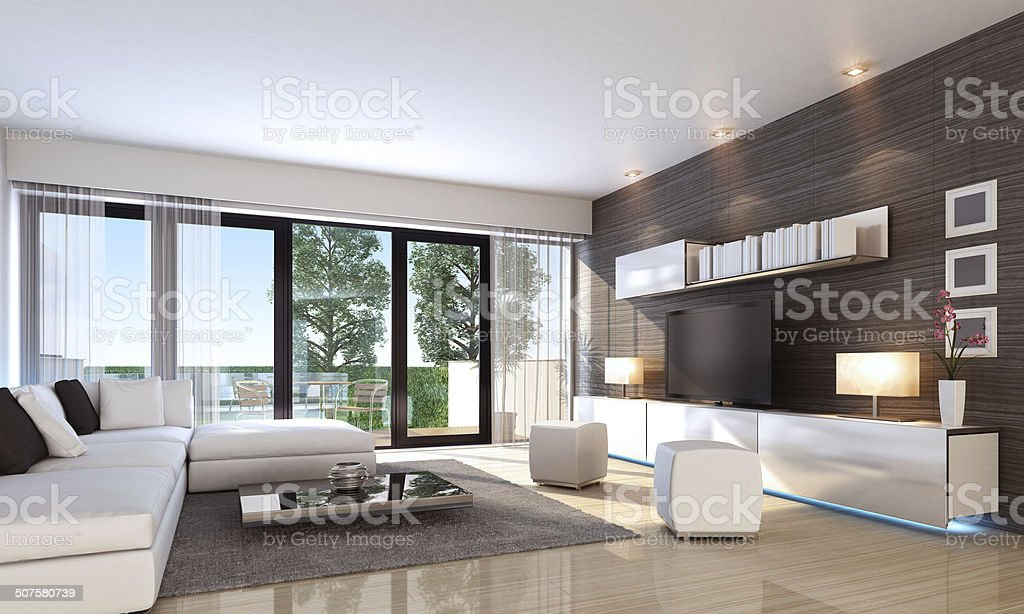 Luxury Penthouse Interior Summer stock photo