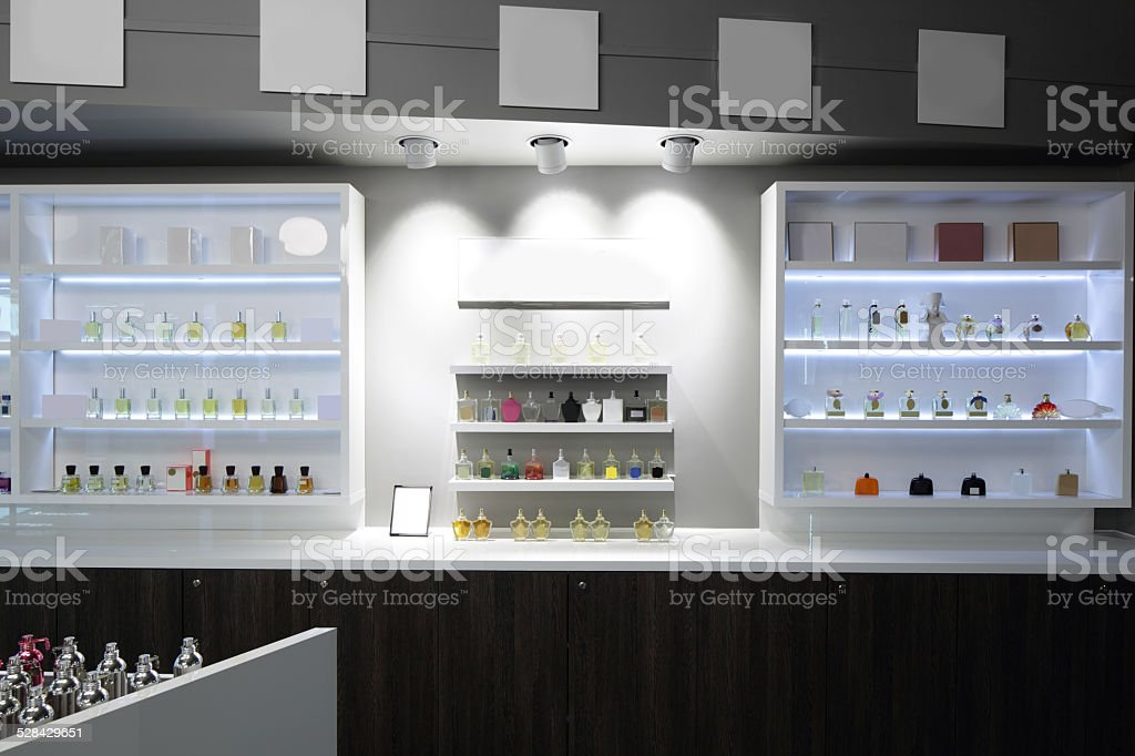 luxury perfume store stock photo