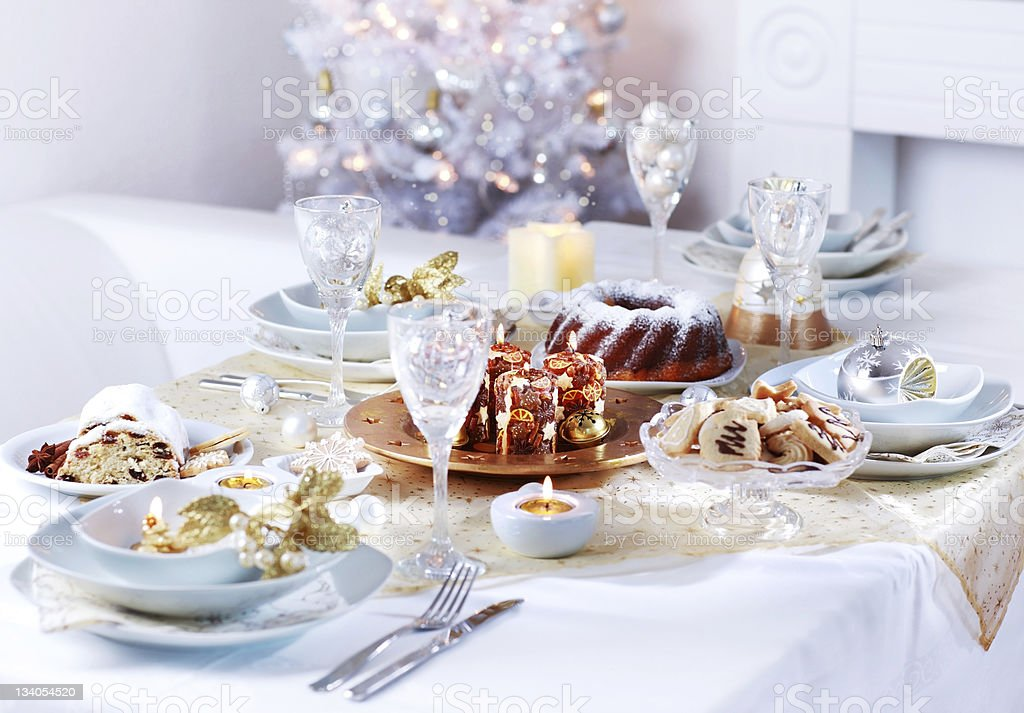 Luxury place setting for Christmas royalty-free stock photo