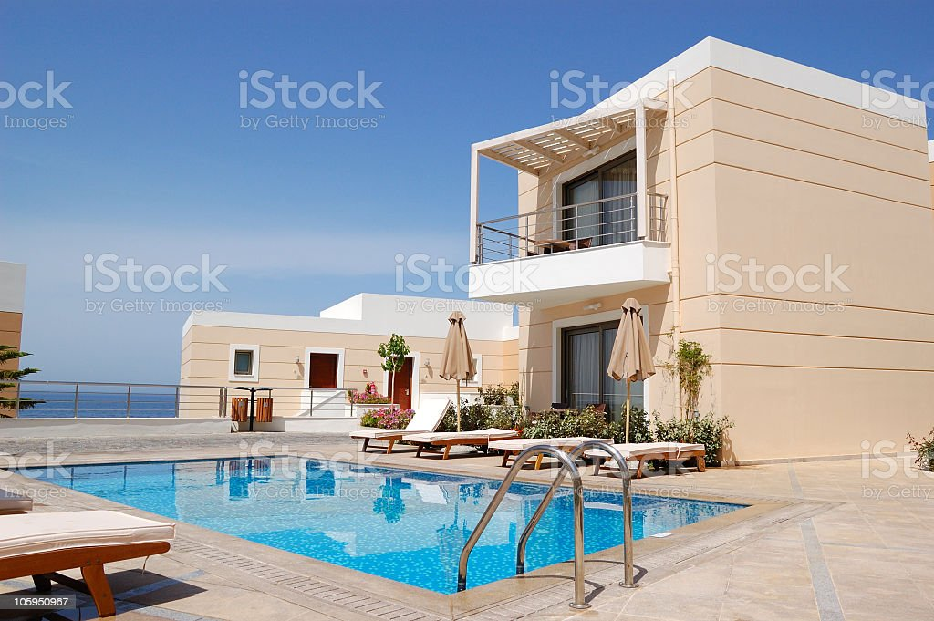 Luxury pool house in Crete, Greece with a beautiful view  stock photo