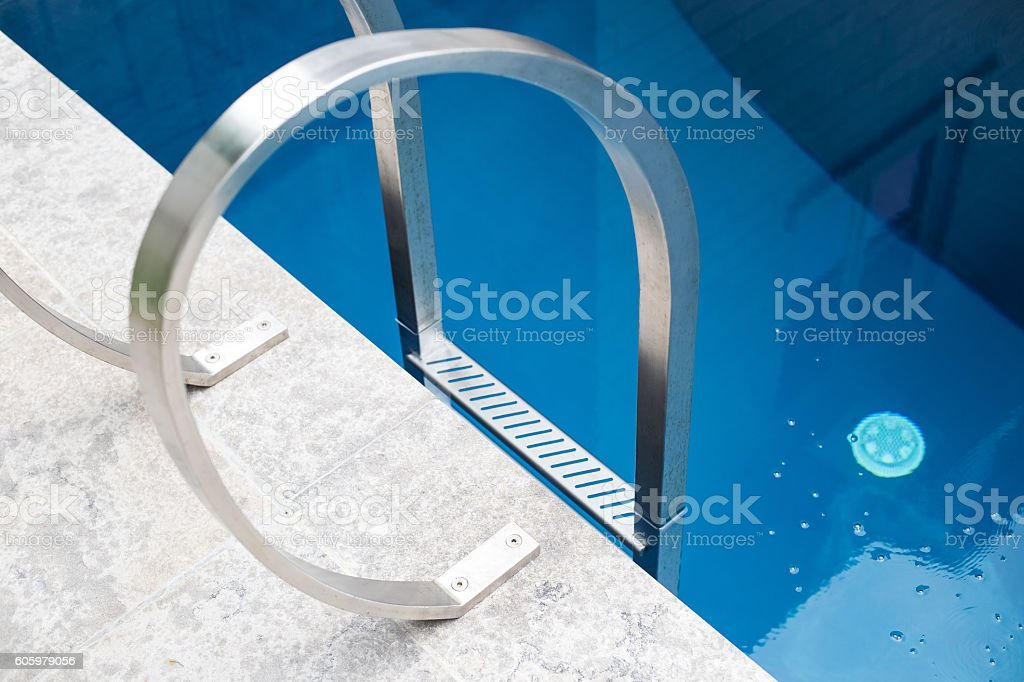 Luxury pool step detail. stock photo
