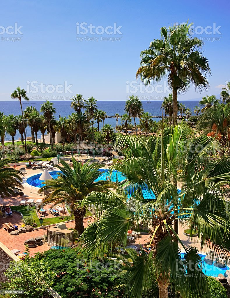 Luxury poolside, Canary Islands stock photo